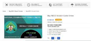 NECO Scratch Card Price 2021